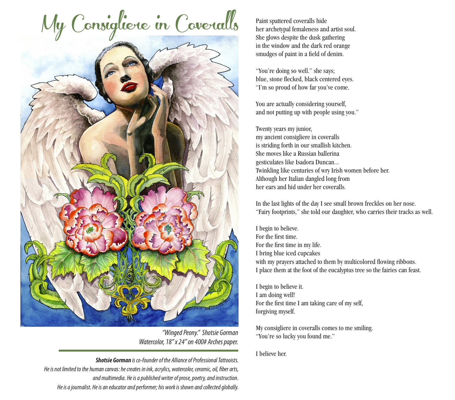 Shotsie Gorman poetry Consigliere in Coveralls