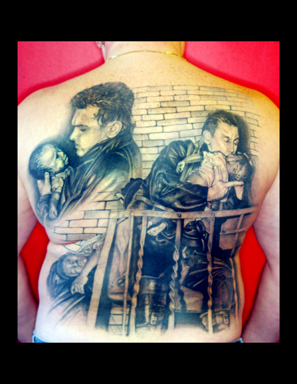 fireman backpiece tattoo black and gray photo real tattoo Shotsie Gorman Sonoma ca Tarot art & tattoo Gallery Northern CA  Man saves two kids from a burning building