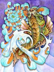 koi dragon underside  shotsie gorman  watercolor