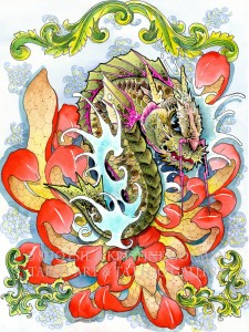 red flower koi dragon  shotsie gorman  watercolor